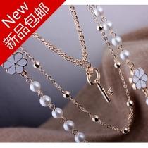 X155波西米亚韩国饰品时尚多层珍珠链条百搭长款项链毛衣链女衣服 价格:23.00