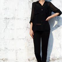 包邮2013秋季清仓HM专柜女式雪纺衬衫大口袋长袖蓝黑色透视衬衫 价格:49.00