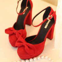 真皮小码鞋一字扣带高跟鞋粗跟女鞋防水台女式单鞋红色新娘鞋婚鞋 价格:199.00