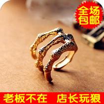 71237欧美官网新款批发 朋克尖爪恶魔纹理鹰爪子复古戒指 指环 女 价格:0.90