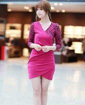 2013春装女装新款 韩版显瘦V领长袖 打底裙子包臀 蕾丝连衣裙 夏 价格:69.00