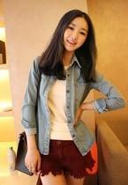 女装2013春款春装新款水洗做旧长袖休闲修身加厚牛仔衣短外套 191 价格:34.80