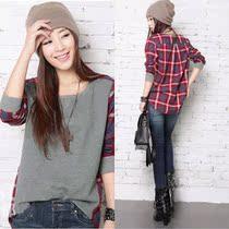 2013秋装新款韩版女装圆领格子拼接街头不规则宽松长袖T恤女卫衣 价格:14.80