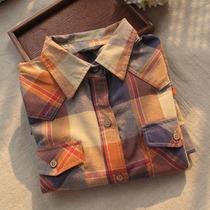2013日单春装新款 复古拼色气质舒适棉麻格子长袖口袋衬衫衬衣 女 价格:49.00