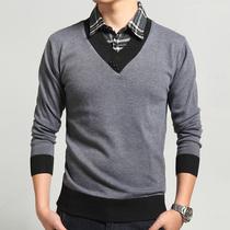 笛凡男装 假两件针织衫男士毛衣韩版修身线衫外套 秋装套头薄毛衣 价格:68.00