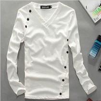 男装2013秋装新款 修身型上衣服韩版超酷高弹力打底衫V领 长袖T恤 价格:25.00