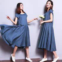 2013夏装新款棉麻女装 亚麻大码连衣裙夏短袖淑女裙 连衣裙 女 价格:149.00