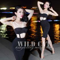 WILD CAT 性感PARTY必备 荧光反光 胸衣式 镂空低胸 紧身连衣裙 价格:159.00