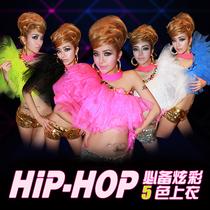 酒吧夜店女ds领舞演出服装DJ造型服时尚百搭网纱镶钻荧光小上衣 价格:59.00