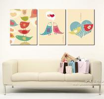 装饰画客厅现代 简约无框画时尚 壁画客厅 幸福鸟壁画爱情鸟挂画 价格:24.00