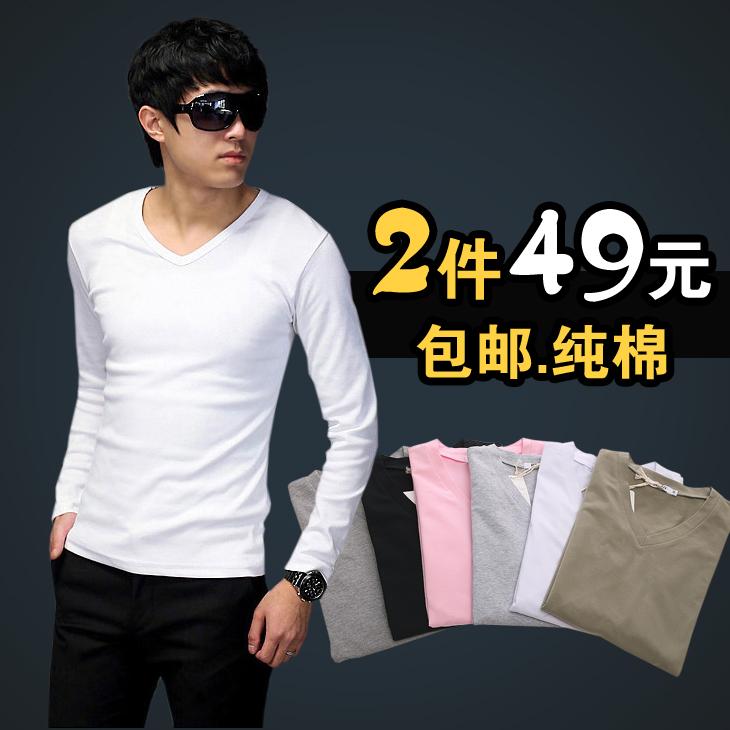 男士上衣T��修身v领潮秋季白色打底衫男装 秋装韩版长袖男t恤纯棉 价格:29.80