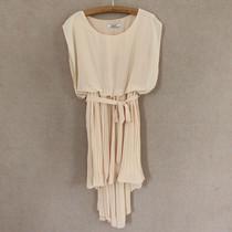 外贸原单2013新款 夏装 蝙蝠袖 百褶不规则下摆 腰带雪纺连衣裙F3 价格:19.80