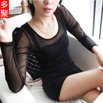 多聚春装春款新品 网纱拼接连衣裙 长袖打底裙黑色大码女装裙子 价格:19.80
