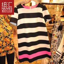 韩国代购2013夏装新款宽松条纹雪纺连衣裙女韩版显瘦短袖裙子大码 价格:56.00