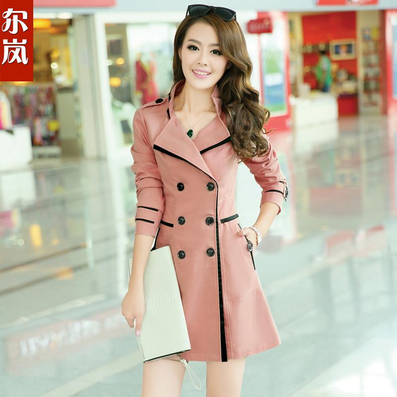 尔岚2013秋装新款女装 大码春秋风衣外套 韩版修身中长款女式风衣 价格:238.00