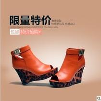 巨日2013新款正品女鞋 软面坡跟鞋 罗马舒适豹纹高跟鱼嘴粗跟凉鞋 价格:75.00