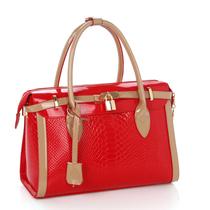 撞色韩版新款波士顿手提包 斜挎包红色潮欧美女包鳄鱼纹大包包邮 价格:135.00