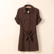2013外贸原单出口欧美素色简洁大方腰带可卷袖中长款女式短袖衬衫 价格:29.99