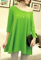2013秋装新款女宽松中长款大摆可露肩圆领纯色打底衫t恤 女 Q18 价格:17.80