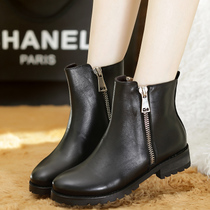 13秋款欧美真皮平底马丁靴时尚双侧拉链牛皮短靴黑色机车靴骑士靴 价格:238.00