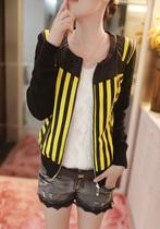飞鱼女装秋装新款韩版潮流短款修身条纹圆领开衫长袖皮衣外套1424 价格:152.10