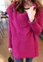 新款韩国版大翻领毛衣外套女秋冬宽松加厚中长款针织蝙蝠开衫 女 价格:89.70