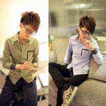 2013秋装新款休闲格子衬衫 男 长袖衬衣韩版 男长袖衬衫 潮男衬衫 价格:45.00