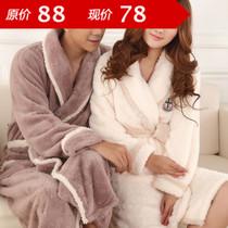 包邮2013新款男士女士情侣珊瑚绒睡袍浴袍长毛睡衣家居服 价格:78.00