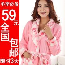冬季新品胭脂红女冬睡衣 珊瑚绒睡袍 女加厚冬保暖睡袍浴袍 热卖 价格:48.64