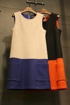 韩国代购新款女装秋装连衣裙 无袖拼接修身毛呢背心裙打底裙子 女 价格:139.00