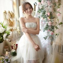 名贵风格短款伴娘礼服 2013新款新娘结婚敬酒服绑带伴娘服晚礼服 价格:128.00
