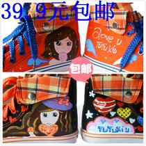 2013秋新款童鞋女童帆布鞋韩版潮款三色猫品牌高帮手绘鞋特价包邮 价格:39.90