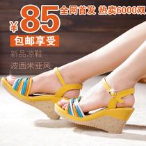 波西米亚甜美淑女坡跟拼色女鞋子 2013夏款防水台高跟鱼嘴女凉鞋 价格:85.00