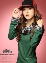 2013夏季新款单穿高领长袖t恤打底衫长袖韩版格纹领边修身上衣 价格:32.00