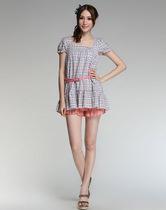 100%棉正品艾格周末夏款韩版娃娃衫短袖格子衬衫女款100214087-37 价格:68.00