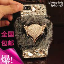 奢华新款iphone4s苹果iphone5代手机壳獭兔毛真皮草保护水钻外壳 价格:59.00
