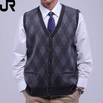 雷诺乔尼 中老年背心 男秋冬开衫针织衫 V领马甲 男羊毛衫 爸爸装 价格:95.61