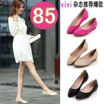 2013新款 正品单鞋 秋季韩版时尚平底跟内增高羊皮 尖头女鞋子 价格:85.00