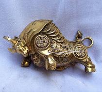特价促销开光纯铜牛摆件/铜如意金钱牛/炒股金融人士必备 黄铜牛 价格:60.00