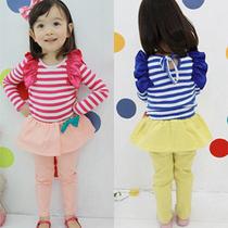 三一2013秋装新款 童装条纹宝宝儿童女童长袖T恤裙裤子套装5946 价格:39.50