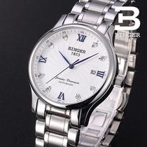 正品BINGER宾格手表全自动机械表精钢男表幸运轮3针皮带白面 价格:334.08