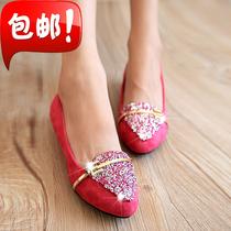 包邮2013春秋新款韩版尖头女单鞋婚鞋水钻平跟绒面免邮平底女鞋潮 价格:39.90