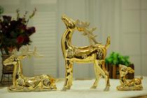 景德镇陶瓷家居摆件 陶瓷喷镀金 吉祥三鹿 客厅书房摆件三件套 价格:158.00