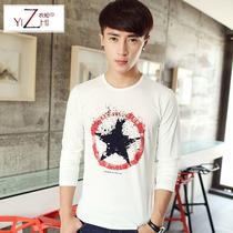 衣知 男长袖T恤2013秋季新款圆领韩版男装潮T恤 男士长袖上衣服 价格:58.60