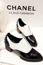 英伦复古风个性铆钉漆皮拼接休闲鞋尖头鞋方跟粗跟鞋女单鞋 价格:120.00