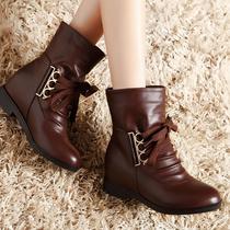 莫蕾蔻蕾女士内增高真皮鞋女款鞋子冬天低跟短靴子头层牛皮马丁靴 价格:168.00