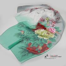 中国风 喷绘女雪纺乔其纱长丝巾 女民族真丝质感围巾 牡丹富贵花 价格:9.90