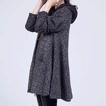 秋冬装新款花色麻灰毛线个性外套风衣中长款连帽领羊毛女毛衣 价格:188.00