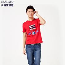 优鲨夏季时尚休闲纯棉男士T恤 短袖T恤 男装鲨鱼印花 多色可选 价格:29.90