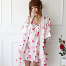 包邮夏季丝绸冰丝睡袍女士性感睡衣吊带睡裙睡袍两件套 价格:29.00